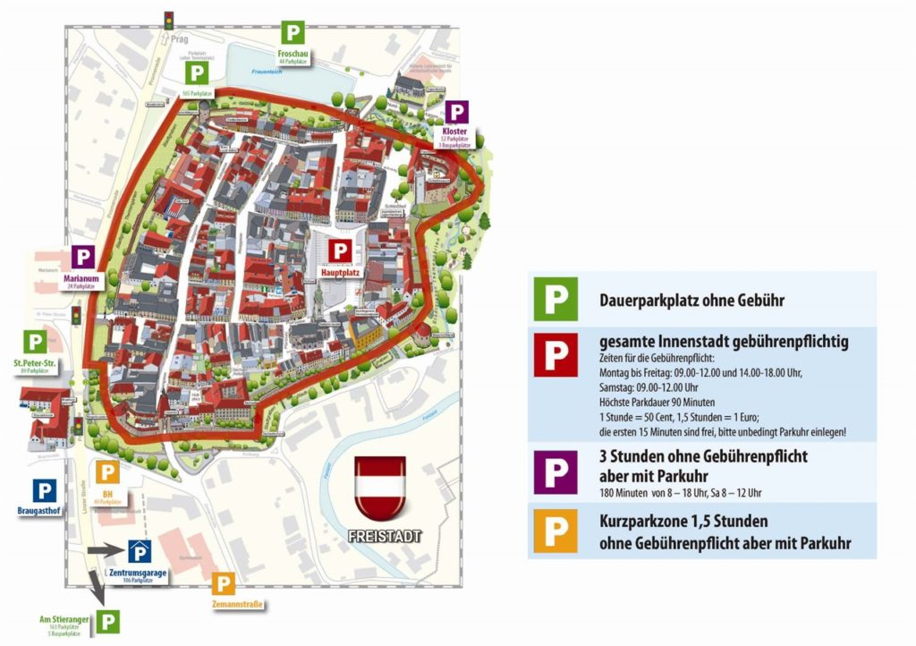 Parken in Freistadt - Stadtplan mit Parkplätze